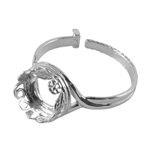 Sterling Silver Floral Garden Setting Adjustable Crimp Ring - Round 10mm