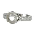 Sterling Silver Gallery Setting Adjustable Ring - Round - 6mm Pkg 1