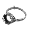 Antique Silver Plate Floral Garden Setting Adjustable Crimp Ring - Round 10mm