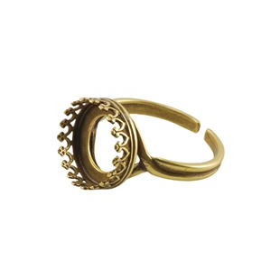 Bronze Plate Gallery Setting Adjustable Ring - Round 12mm