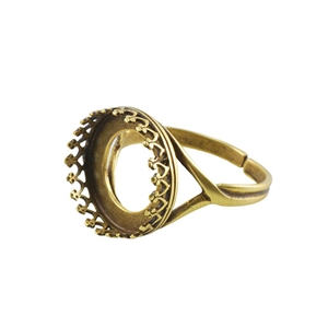 Bronze Plate Gallery Setting Adjustable Ring - Round 14mm