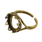 Bronze Plate Hearts Setting Adjustable Ring - Round 14mm