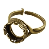 Antique Brass Floral Garden Setting Adjustable Crimp Ring - Round 12mm