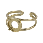 Brass Bezel Setting Adjustable Ring - Round - 8mm Pkg 1