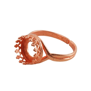 Copper Plate Gallery Setting Adjustable Ring - Round 10mm