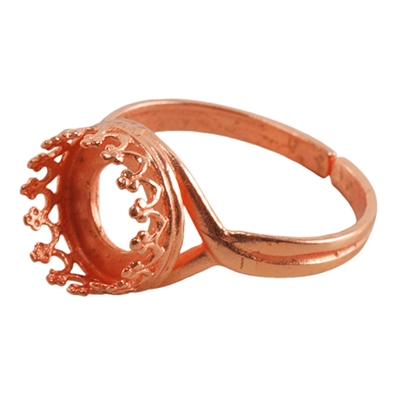 Copper Plate Gallery Setting Adjustable Ring - Round