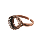 Copper Plate Gallery Setting Adjustable Ring - Round 12mm