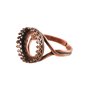 Copper Plate Gallery Setting Adjustable Ring - Round 14mm