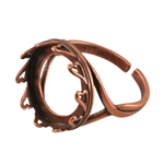 Copper Plate Hearts Setting Adjustable Ring - Round 16mm