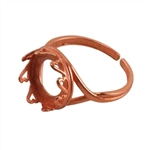 Copper Plate Hearts Setting Adjustable Ring - Round