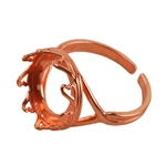 Copper Plate Hearts Setting Adjustable Ring - Round 14mm