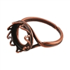 Copper Plate Hearts Setting Adjustable Ring - Round 12mm