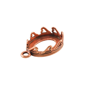 Copper Plate Pendant Setting - Hearts Oval 10x14mm