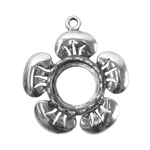 Sterling Silver Flower Pendant Setting - Round 10mm