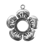 Sterling Silver Flower Pendant Setting - Round 12mm
