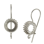 Sterling Silver French Earwires - Bezel Gallery Setting with Loop - 10.5mm 1 Pair