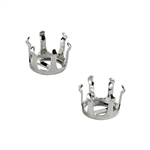 Sterling Silver 10mm Round Snap-Set 6 Prong Setting - Set/2