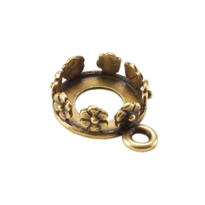 Bronze Pendant Bezel Setting - Flower Round 8mm