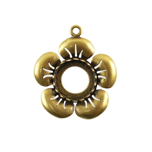 Bronze Plate Flower Pendant Setting - Round 12mm
