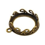 Bronze Plate Pendant Setting - Waves Round 16mm