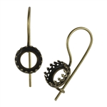 Antique Brass French Earwires - Bezel Gallery Setting - 8.5mm 1 Pair