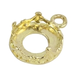 Brass Pendant Bezel Setting - Rounded Crown Round 10mm Pkg - 1