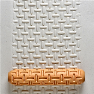 Large Wooden Hand Roller - Rattan Weave