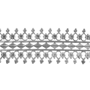 Patterned Strip - 935 Sterling Silver - Double Beaded #1 - 6 Inches