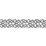 Patterned Strip - 935 Sterling Silver - Blooming Heart - 6 Inches