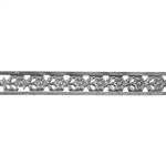 Patterned Strip - 935 Sterling Silver - Edged Flower - 6 Inches