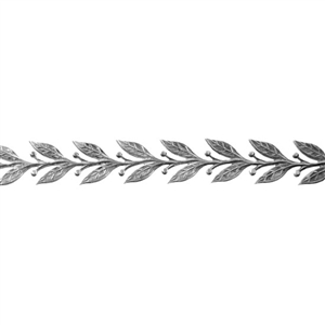 Patterned Strip - 935 Sterling Silver - Leaves #5 - 6 Inches