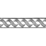 Patterned Strip - 935 Sterling Silver - Triple S with Edging - 6 Inches