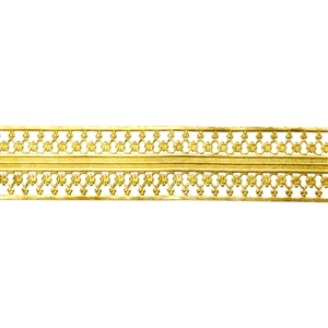 Patterned Wire - Brass - Beaded Ribbon 26 gauge Dead Soft - 6""