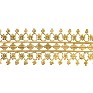 Patterned Strip - Brass - Double Beaded #1 - 6 inches