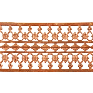 Patterned Strip - Copper - Beaded Ribbon - 6 inches