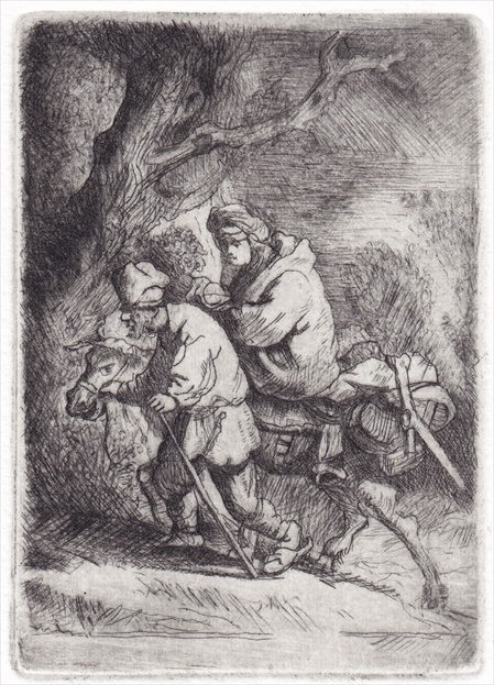 Flight into Egypt, the small plate. After Rembrandt