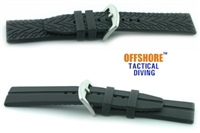 Offshore Tactical Diving Reversible Silicon Dive Strap Black  24mm,22mm,20mm