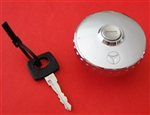 Late 280SL* Chrome Gas Cap - With Plastic Key Head