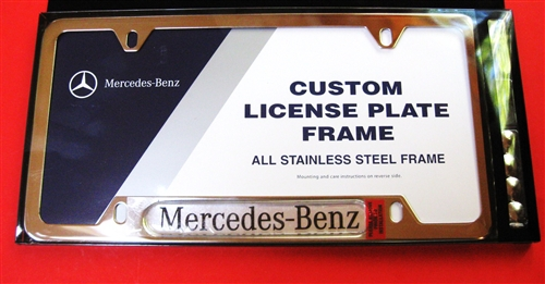 License plate frame with mercedes logo stainless steel for Mercedes benz license plate logo