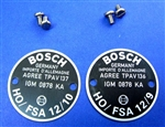 Pair of Bosch Horn Data Plates -12/9-12/10 Type