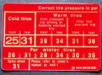 "TIRE PRESSURE DECAL / LABEL - RED - FOR 230SL & EARLY 250SL "" 25psi"" without ""Radial"" text"