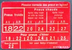TIRE PRESSURE DECAL / LABEL - FOR 230SL 250SL & EARLY 280SL - French Version