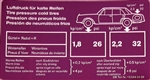 TIRE PRESSURE DECAL - FOR LATE MERCEDES 280SL - PURPLE