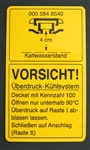 "DECAL / LABEL - ""VORSICHT"" FOR 230SL & EARLY  250SL COOLANT TANK"