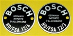 Pair of Bosch Horn Data Plates -  12/3 - 12/4 - for early Mercedes models