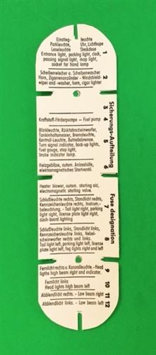 fuse box label    legend for mercedes 230sl 250s 280sl