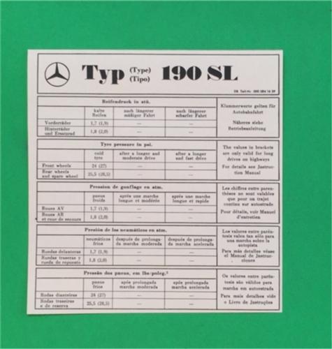 Instruction Sheet For 190sl Tire Pressure Gauge
