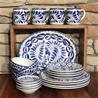 PUEBLA 21 PC DINNERWARE SET - BLUE ONLY