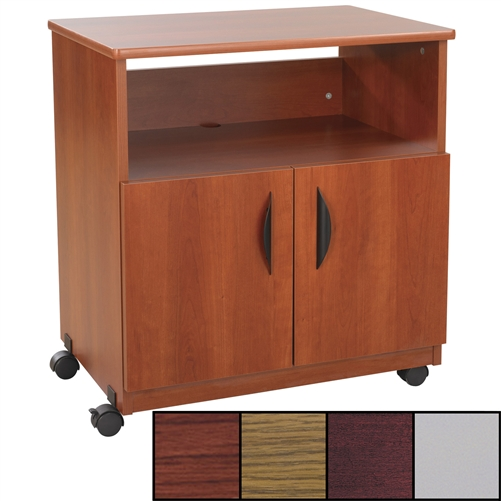 Wooden Mobile Printer Stand w/ Cabinet Doors- Safco