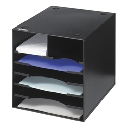 7 Compartment Black Steel Desktop Organizer